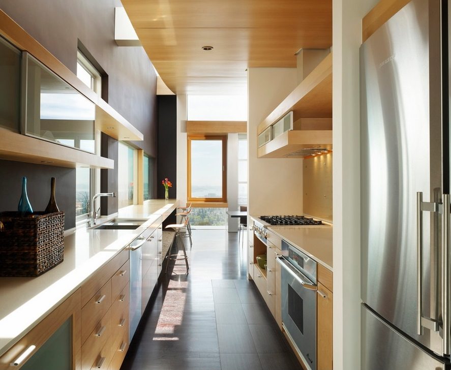 Contemporary Kitchen Cabinets Flat Slab Doors Custom Cabinets