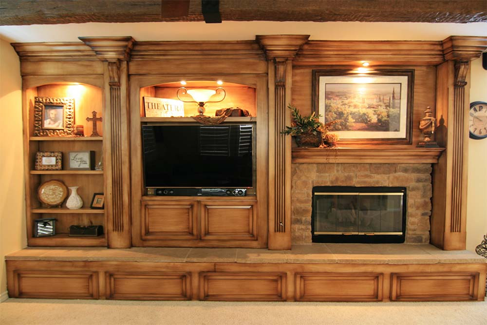 Burnished Wood Entertainment Center Custom Cabinets