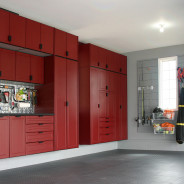 Custom Garage Cabinets in Red