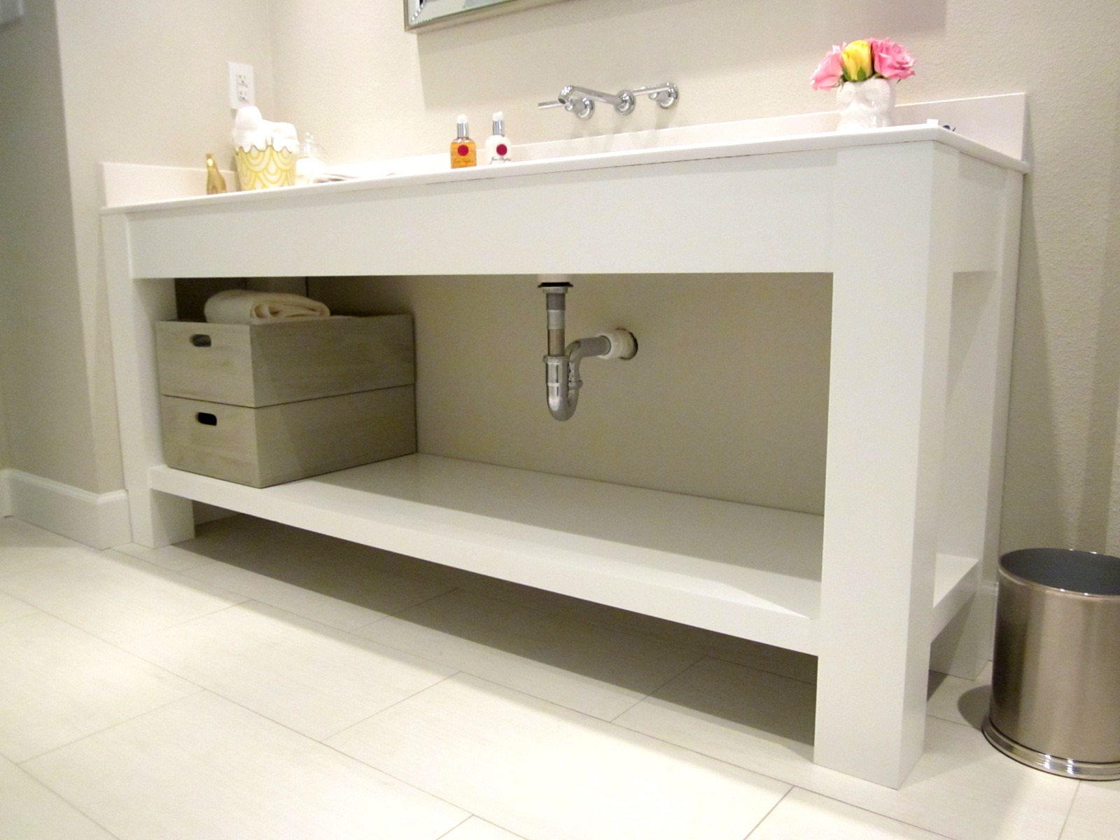 Jared meadors custom cabinets houston bath vanity console open contemporary painted white Bathroom vanities houston tx