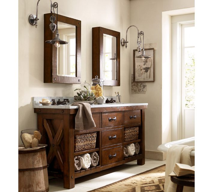 Set Your Bath Apart With A Rustic Free Standing Hutch.