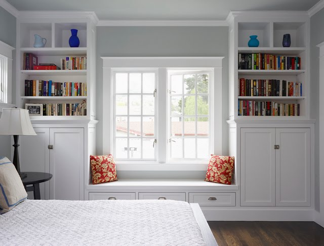 paint grade built ins window seat bookcase bookcases inset doors shaker