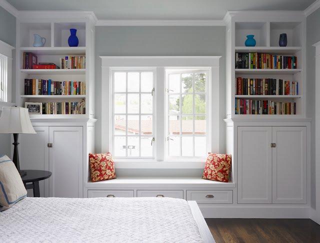 Paint Grade Built Ins Window Seat Bookcase Bookcases Inset Doors Shaker